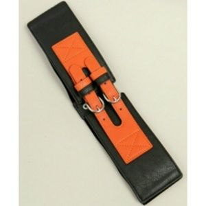 Accessories - Black & Orange Double Strap Waist Belt